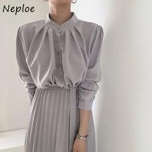 Neploe elegante gola plissada vestido feminino francês outono drawstring vestidos de cor sólida cintura alta macio femme