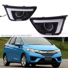 цена на YTCLIN 2Pcs LED DRL Daytime Running Light for Honda Jazz Fit 2014 2015 2016 2017 12V Waterproof Fog Lamp with Turn Yellow Signal