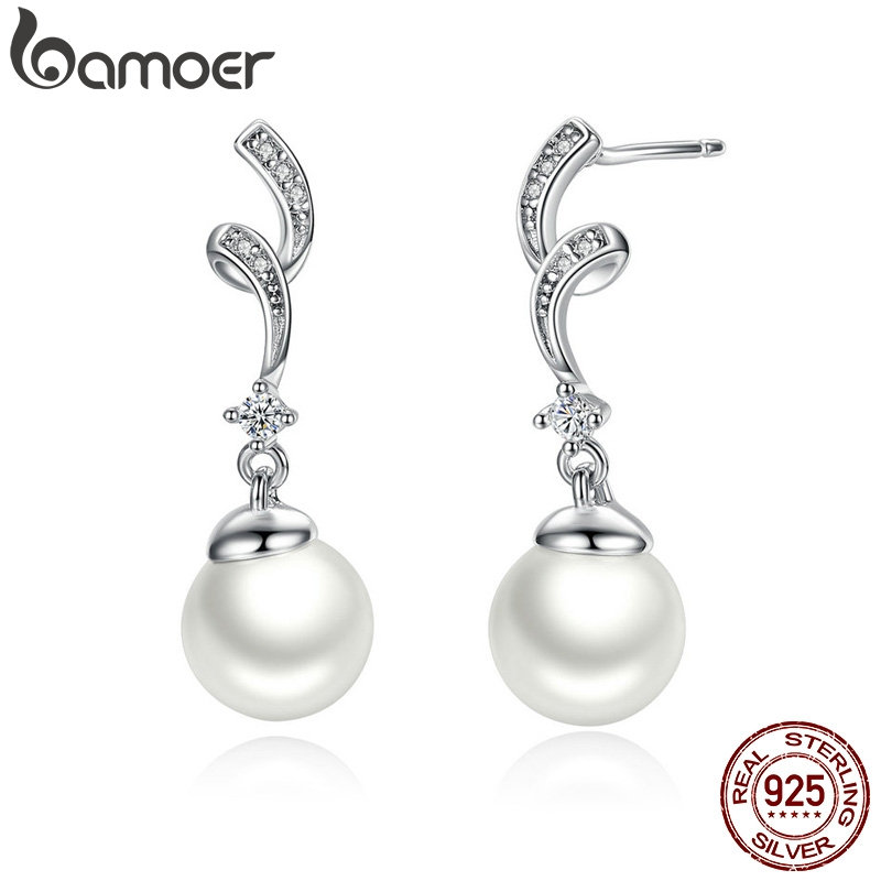 BAMOER Unique Design 100% 925 Sterling Silver Simulated Pearl & Wave Drop Earrings Women Fashion Jewelry SCE035