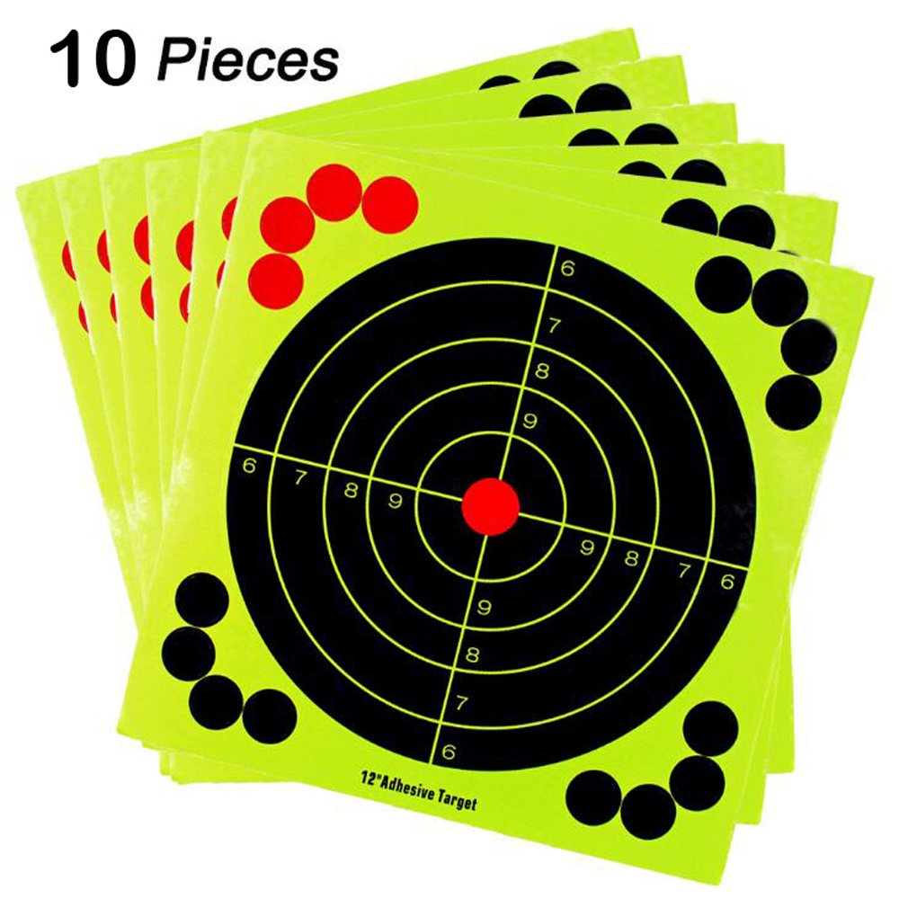 Shooting Targets 12 Inch Adhesive Target Splatter Glow Shot Rifle Florescent Paper Target 10 Pieces