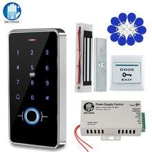 Kit sistema de controle acesso da porta da impressão digital ip68 à prova dip68 água ao ar livre rfid teclado controle acesso + greve magnética elétrica bloqueio