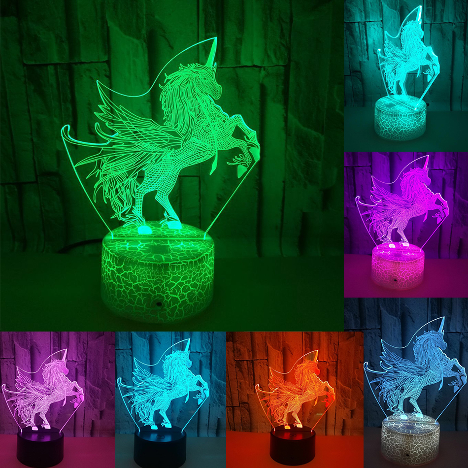 7 Colors Touch Control 3D Horse LED Night Light Unicorn Light Color Change LED Table Desk Lamp Kids Xmas Gift Home Decor