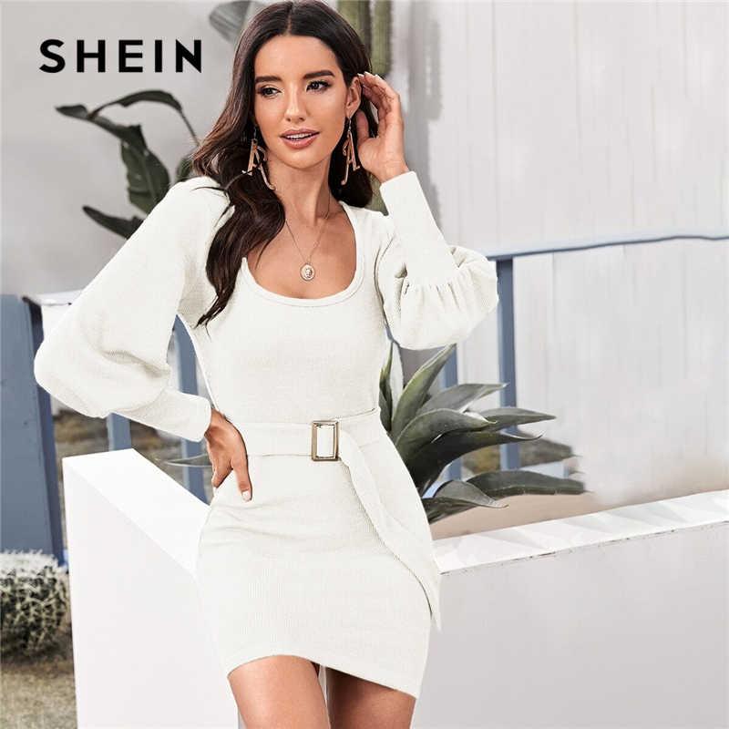 SHEIN круглый вырез ребристый вязаный однотонный облегающий свитер платье с поясом Женская Осенняя уличная Бишоп рукав Bodycon Элегантные платья