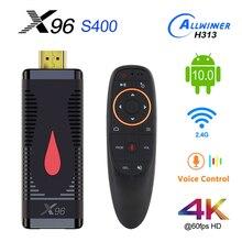 Андроид 10 TV Stick X96 S400 Allwinner H313 Quad Core 2 Гб оперативной памяти, 16 Гб встроенной памяти, Smart TV Box 4K 60fps H.265 2,4G, Wi Fi, медиа проигрыватель Google ключ