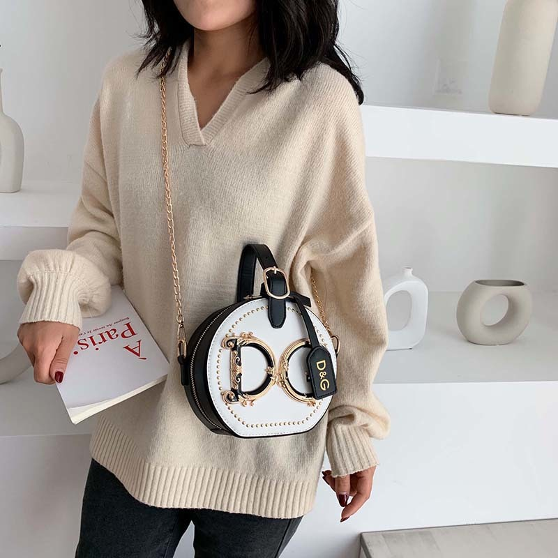 Famous Brand Women Small Totes Female Elegant Circular Handbags Chain Crossbody Bags Round Bag Lady Luxury Designer Shoulder Bag