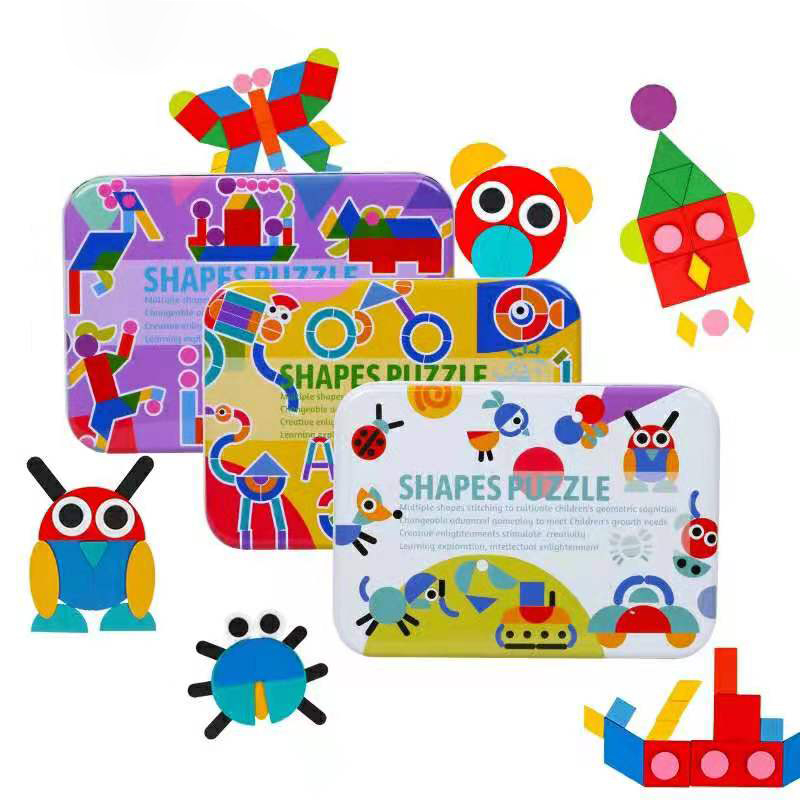 50pcs/60pcs Cards 3D Puzzle Set Early Learning Kids Educational Toy Montessori Toys Children Boys Educativos Fun Jigsaw Tangram