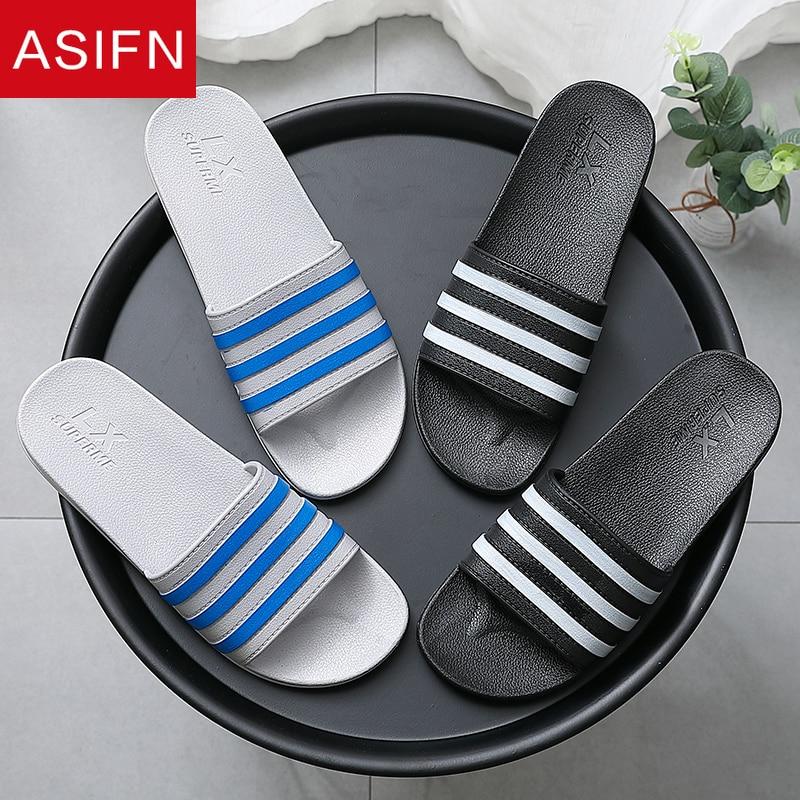 ASIFN Summer Men's Slippers Casual Slides Bathroom Non-slip PVC Male Flip Flops Shoes Couple Zapatos De Hombre Sandals