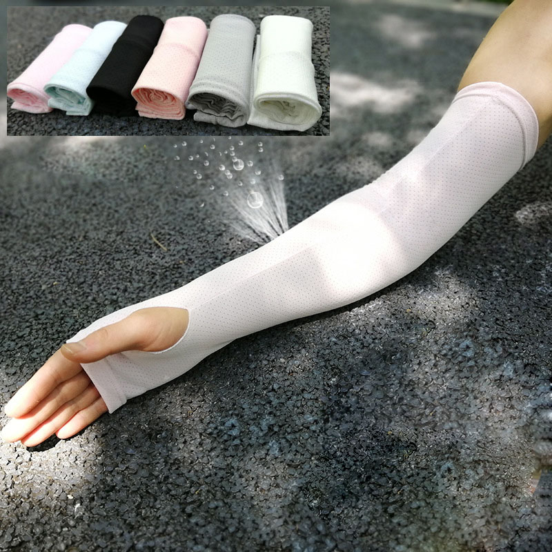 High Quality Cooling Arm Sleeves Mesh Sun Protection Gloves For Men Women Stretch Anti-UV Outdoor Sport Accessories