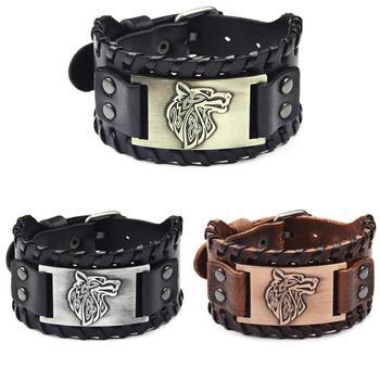 Bracelet large en cuir métal réglable Viking tête loup  1