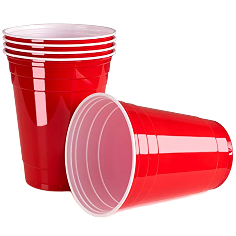 LBER 50Pcs/Set 450Ml Red Disposable Plastic Cup Party Cup Bar Restaurant Supplies Household Items For Home Supplies