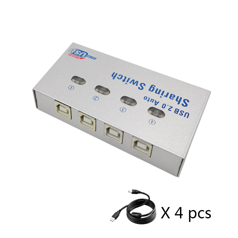 Купить с кэшбэком 4 port USB smart switcher USB PRINTER SWITCH automatic splitter four in and one out multiple computers share a USB device