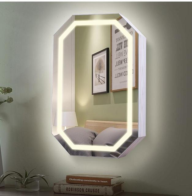 Mirror Dressing Mirror Household Mirror with Storage rack Wall Dressing Mirror Cabinet Hang Mirror Jewelry Receiving