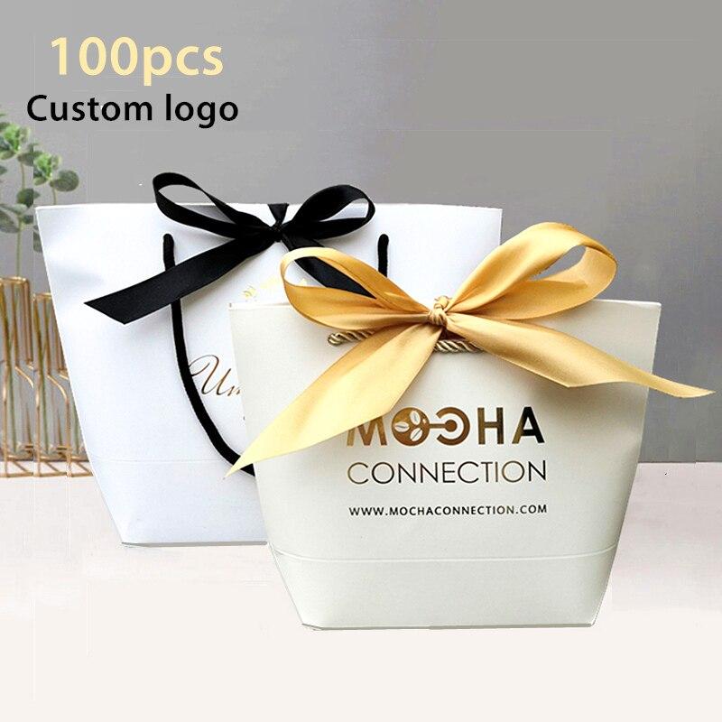 100pcs Customizable logo gift bag box kraft paper bags Wig packaging gift Clothing pajamas bags wedding gift Package boxes