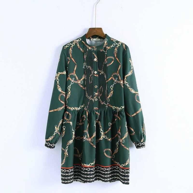 Za 2019 Primavera Nova Cadeia de Impressão Mulheres Casual Mini Vestido Verde Vestidos De Fiesta De Noche