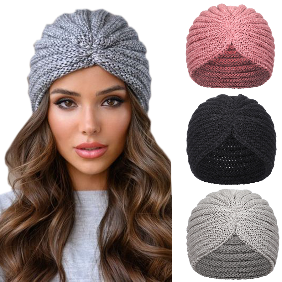 Haimeikang Women New Bandanas Turban Winter Knit Turban Cap Center Cross Hair Scarfs Boho Knotted Warm Headband Muslim Hat