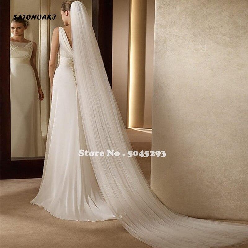 SATONOAK 2020 Elegant Wedding Veil 3 Meters Long Soft Bridal Veil With Comb 2 Layers Ivory White Color Bride Wedding Accessories