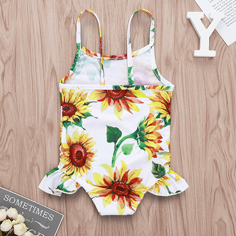 Cross Border For Hot Selling Sunflower Printed Camisole GIRL'S Swimsuit Wholesale Cute Camisole Flounced KID'S Swimwear