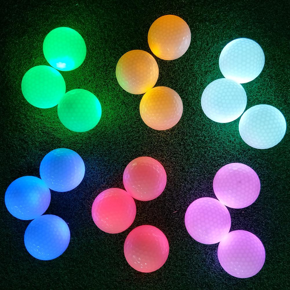 Luminous Colorful Glitter LED Light Golf Ball Permanent Bright Ball On For Night Golf Training Synthetic Rubber Two-piece Ball