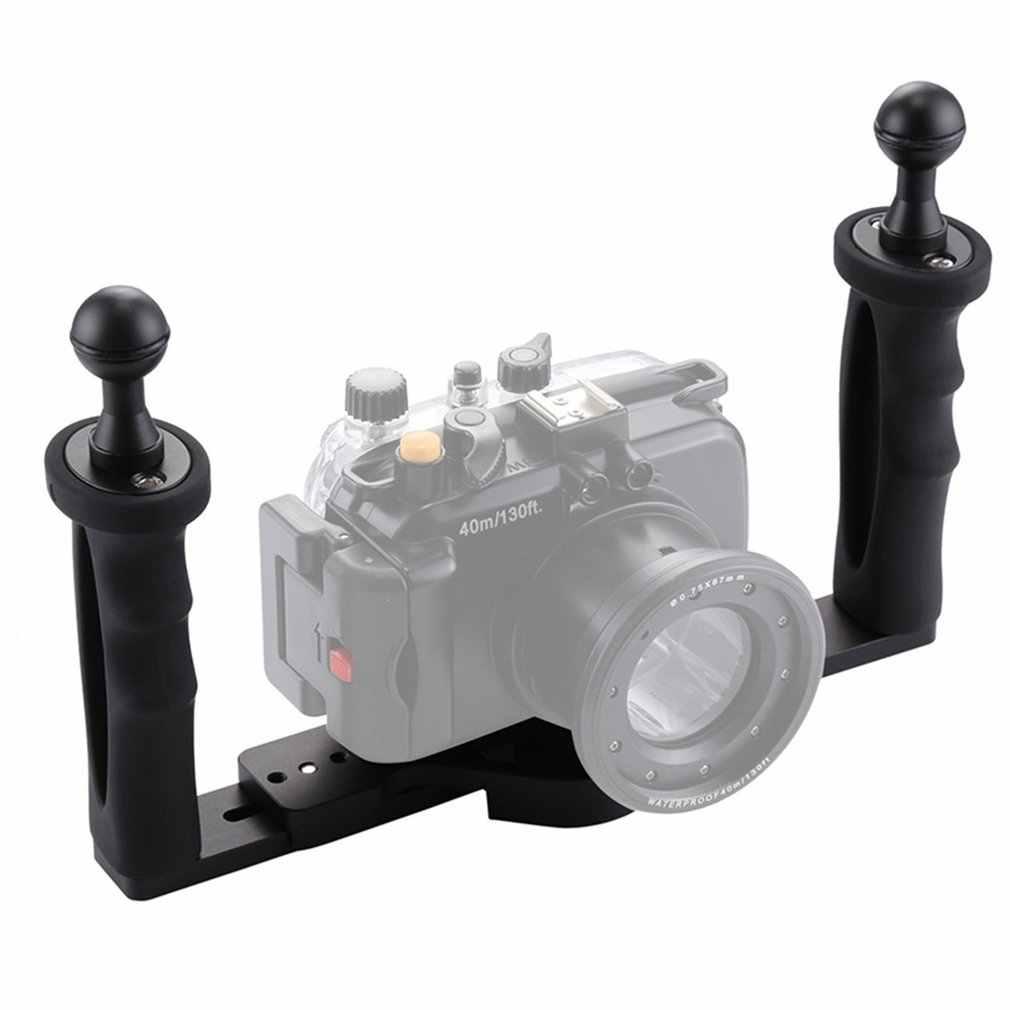 ダイビングカメラスタビライザー水中グリップハンドヘルドホルダーダブルアームトレイサポートホルダーケージ Selfie マウント移動プロ
