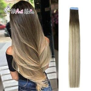 Extensiones de cinta adhesiva para pelo HiArt 2,5G/pieza de trama de piel cinta de pelo doble dibujado en extensión de cabello Natural Remy Balayage 18