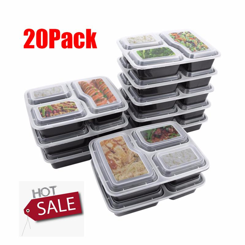 20pcs Disposable Meal Prep Containers 3-Compartment Food Storage Box Microwave Safe Lunch Boxes (Black, with Lid)