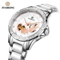 STARKING механические часы для женщин с автоматическим скелетом, МОДНЫЕ ЖЕНСКИЕ НАРЯДНЫЕ часы, стразы, белые керамические наручные часы