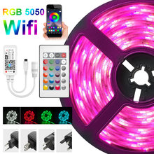 5050 LED Strips Light Bluetooth Wifi Smart alexa RGB 5-20m no waterproof LED Flexible Ribbon DC12V Tape Diode Bedroom Decoration