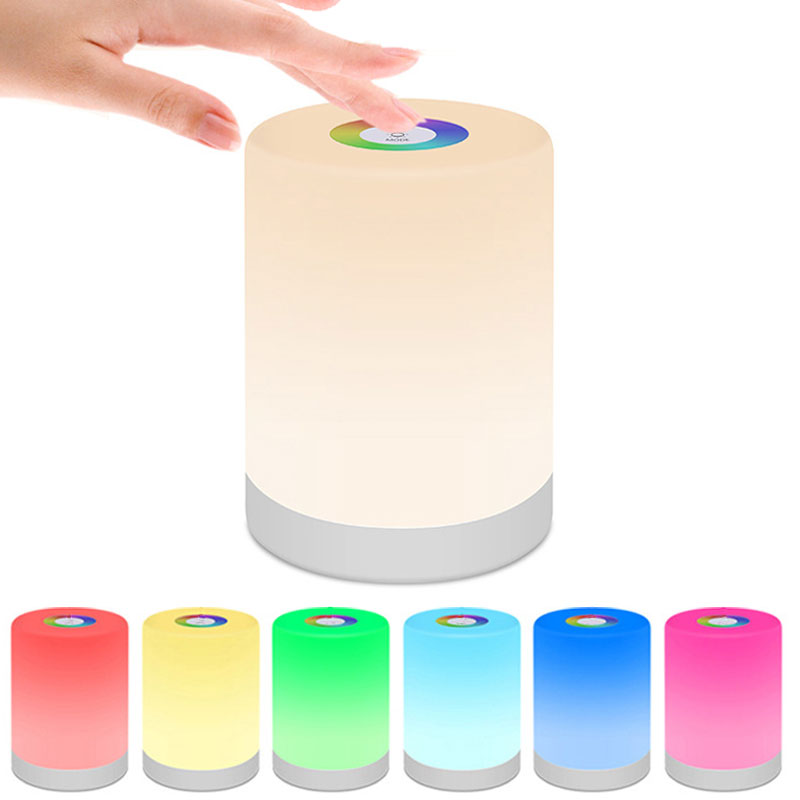 LED Touch Control Colorful Night Light Rechargeble Induction Dimmer Bedside Lamp Smart Emergency Christmas Gift Wild Camping