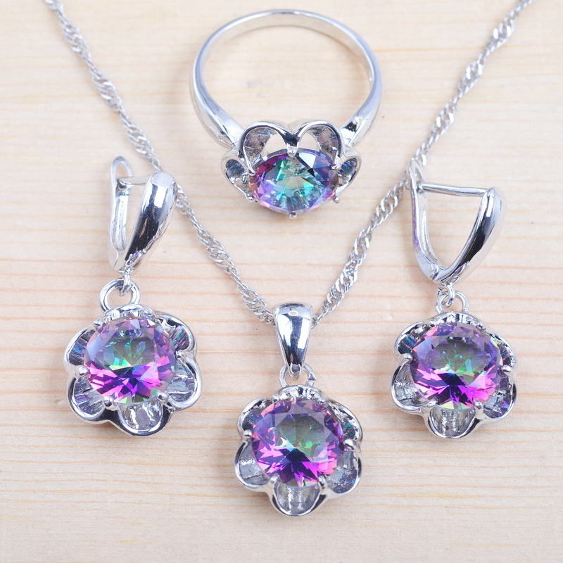 עבור נשים קיץ סטי Zirconia קריסטל תכשיטי סט כסף צבע שרשרת ועגילים טבעת מסיבת מתנה QZ0369
