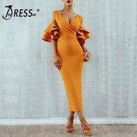 INDRESSME 2020 New Women Yellow Ruffle Butterfly Short Sleeve Dress Summer V Neck Vestidos Celebrity Party Dress Midi Club Dress