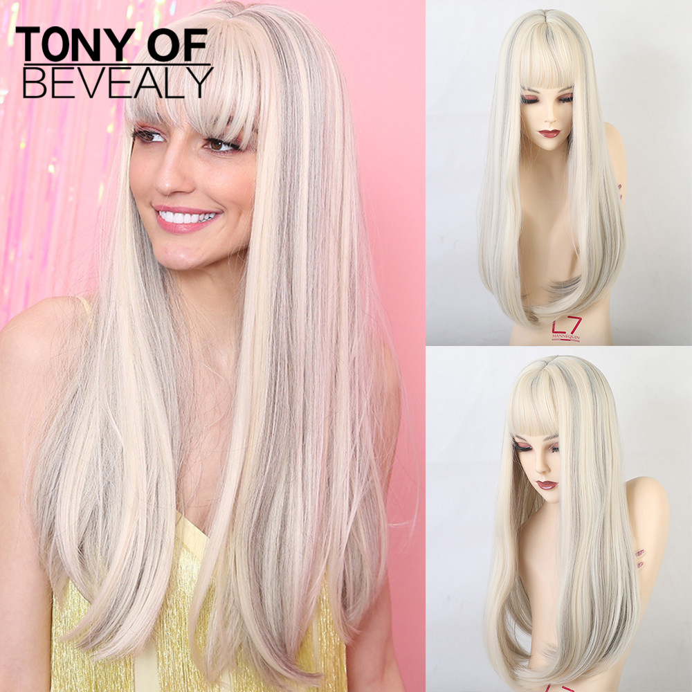 Long Straight Synthetic Wigs With Bangs Mixed White Natural Hair Wigs For Woman Cosplay Wigs Heat Resistant Fiber Wigs
