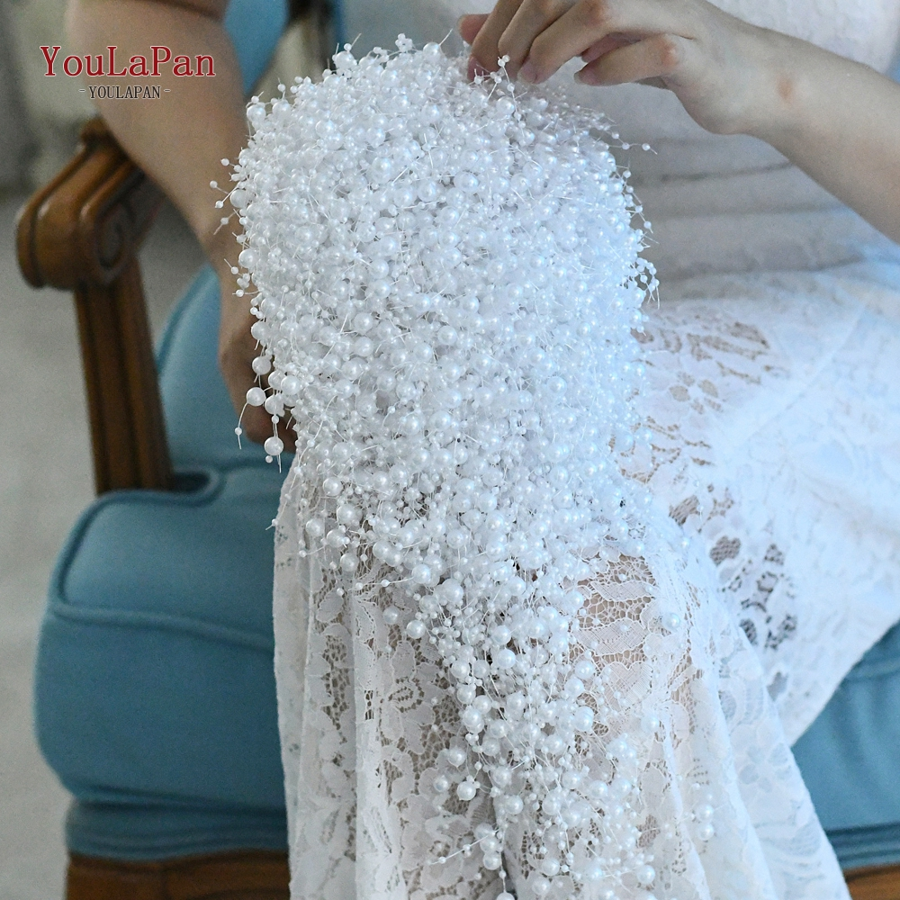 Купить с кэшбэком TOPQUEEN F24 2020 Wedding Bouquet Bridal Holding Flowers pure pearls Bridesmaid Flowers fashion Bridal Bouquets In Stock
