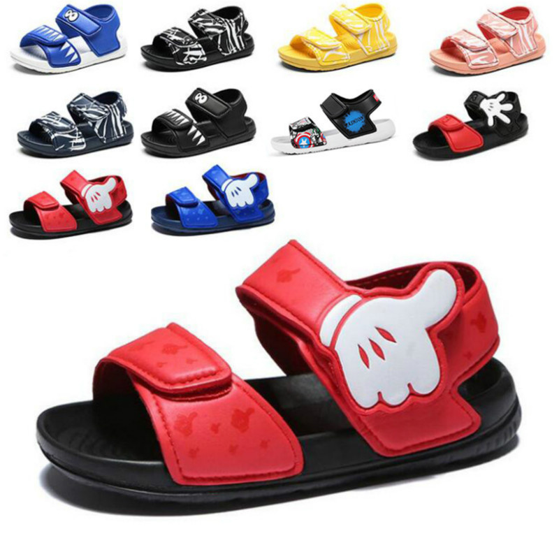 2019 Summer New Soft Non-slip Beach Shoes Mickey Captain America Open Children's Sandals Wild Boys Girls Student Kids Shoes