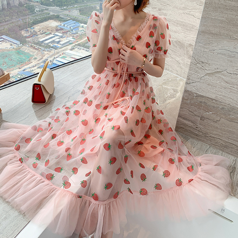 Runway Rhinestone Diamonds Strawberry Pink Mesh Maxi Dress Women Short Puff Sleeve Sexy V-neck Lace-up Bow Tunic Lolita Dress (12)