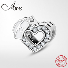 100% 925 Sterling Silver Nurse Charms Heart shape Sparkling CZ Beads Fit Original Pandora Charms Bracelet Jewelry making стоимость