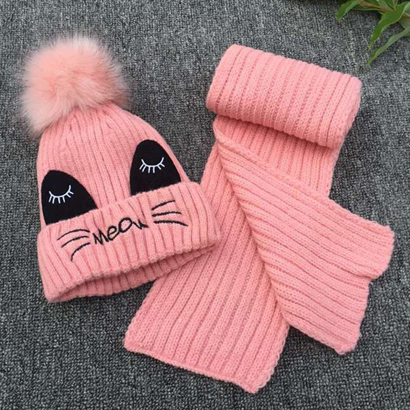 3-10years Kids Cute Cat Knitted Winter Hat And Scarf 2pc Set Boys Girls Warm Fleece Hat Set Pink Yellow Grey Black Red