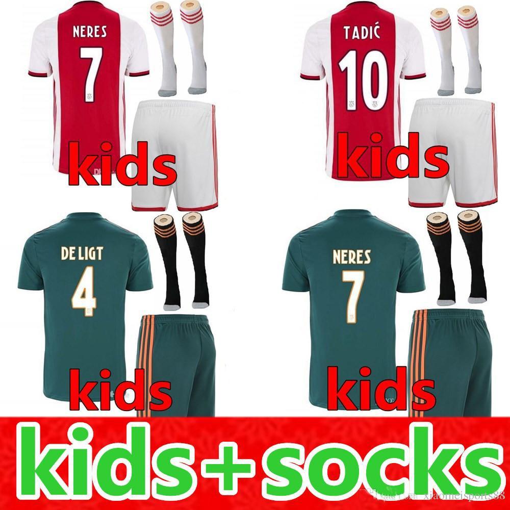 2020 Ajaxes Kiss Kit Socks Soccer Jersey 2019 2020 DE JONG TADIC ZIYECH VAN BEEK NERES ZIYECH Child Football Shirt Free Shipping