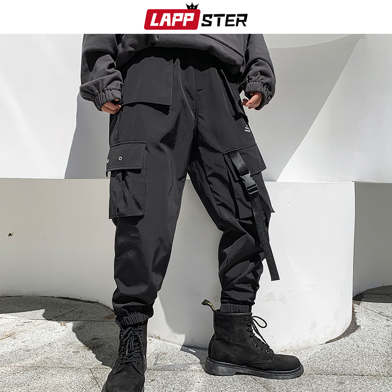 LAPPSTER Winter Men Thick Cargo Pants 2020 Overalls Mens Hip Hop Ribbons Plus Velvet Joggers Black Sweatpants Track Pants 5XL