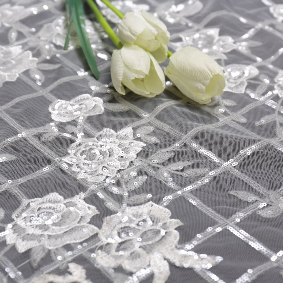 5 Yards New Lace Sequined Embroidery Fabric Diamond Mesh Lace Flower Mesh Embroidery Garment Fabric
