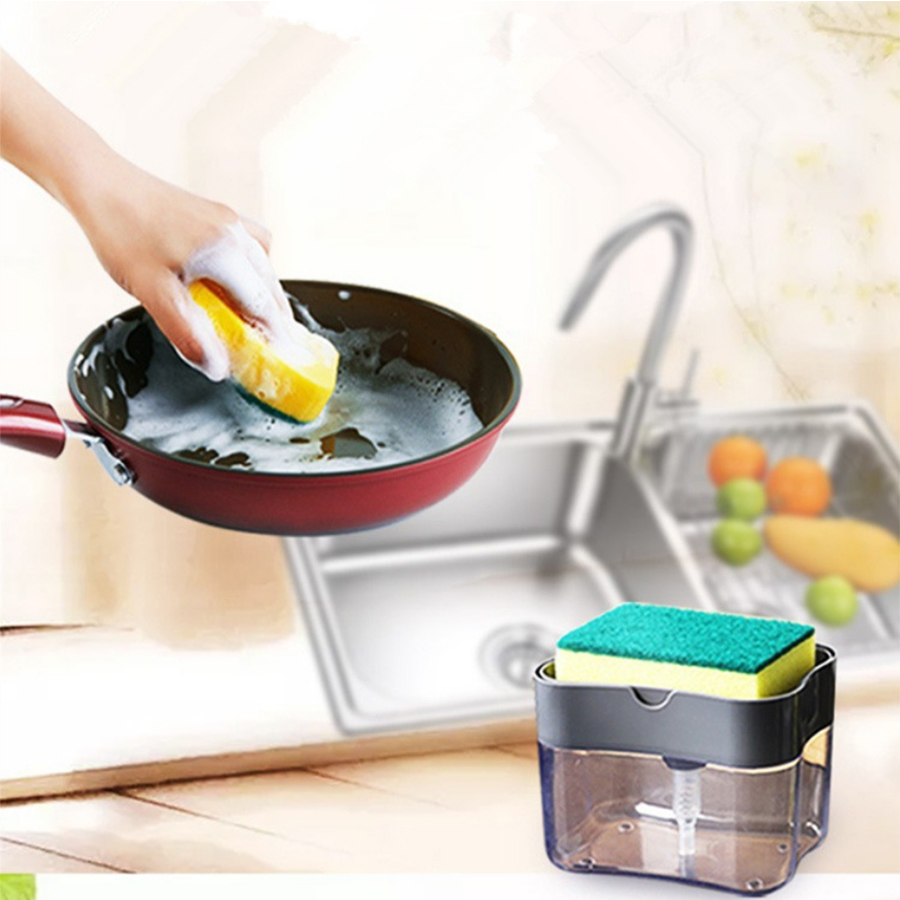 Kitchen Cleaner Soap Pump Dispenser With Sponge Holder Liquid Dispenser Container Manual Press Soap Organizer Kitchen Tool