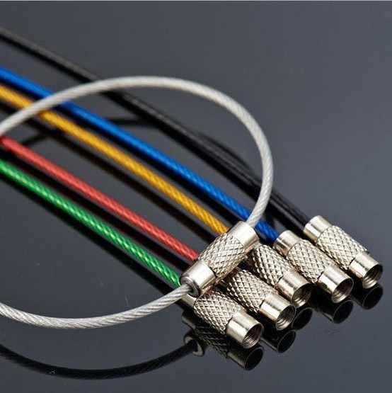 موضة بسيطة ملونة المفاتيح حلقة من الستانلس ستيل مفتاح حامل في الهواء الطلق سلك Keyrings كابل حبل مسامير التأمين مفتاح سلسلة