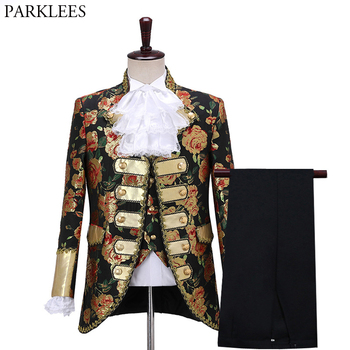 Men's Gothic Style Palace Aristocrat Suit  Court Prince Halloween Masquerade Cosplay Party Set Men Costume Homme XL - discount item  50% OFF Suits & Blazer