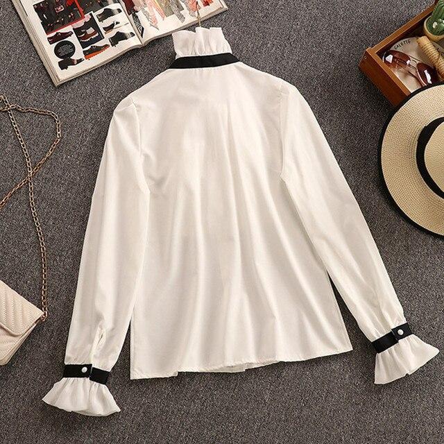2020 Autumn Winter 2 Piece Set Overalls Dress Women Elegant Ruffles Chiffon Bow Shirt Top+Double Breasted Plaid Tweed Vest Dress 3