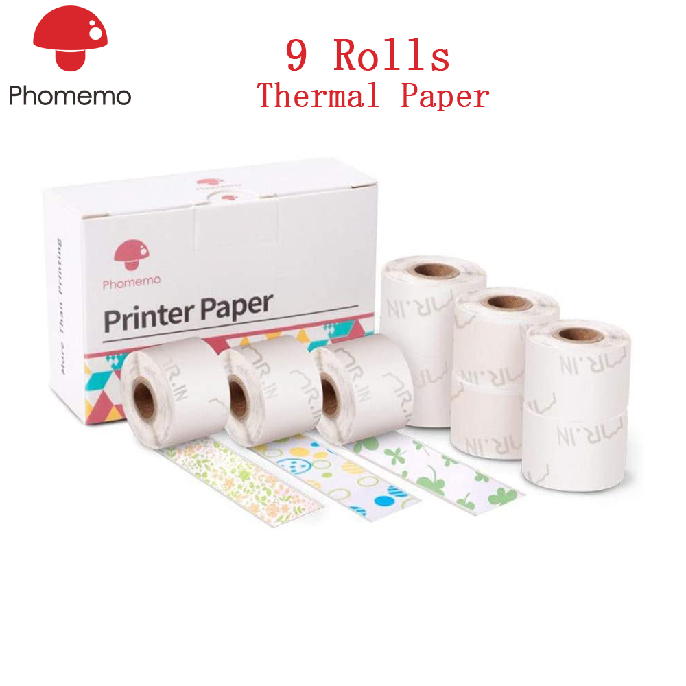 Phomemo 9 Rolls Thermal Sticker Paper Black Character 15mm X 3.5m 3 Colors Label Paper For Phomemo M02S Mini Photo Printer
