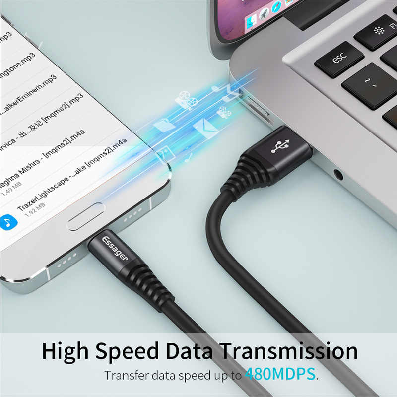 Essager 0.3M 1M 2M USB نوع C كابل لسامسونج Xiaomi هواوي مزامنة بيانات شاحن سلك الحبل USB نوع C كابل USBC سريع تهمة