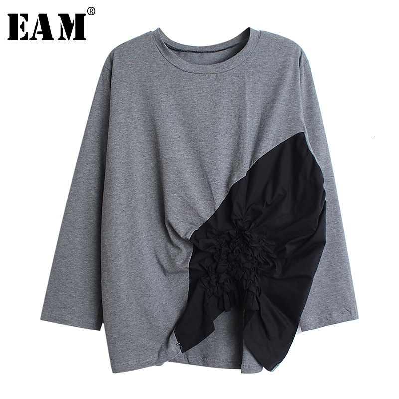 [EAM] Women Spliced Pleated Loose Fit T-shirt New Round Neck Long Sleeve Fashion Tide All-match Spring Autumn 2020 1B351
