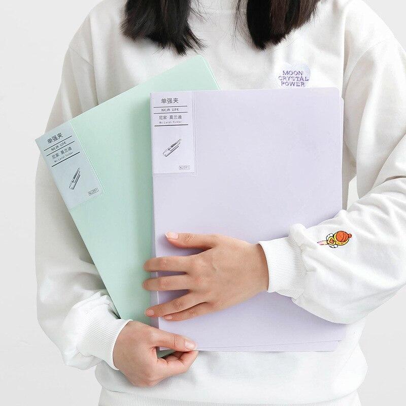 2020 Kawaii A4 File Folder Creativity Strong Clip 6 Colors Folder File Organizer File Filing Portfolio Office Stationery