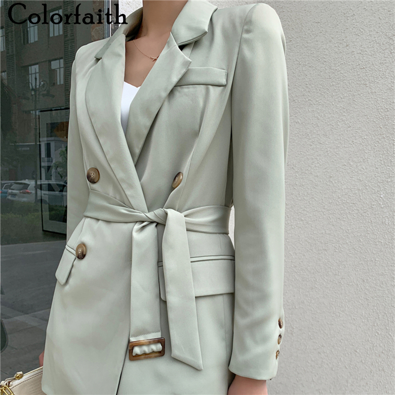 Colorfaith New 2020 Summer Women's Blazers Casual Double Breasted Jacket Notched Office Lady Lace Up Elegant Wild Tops JK20011