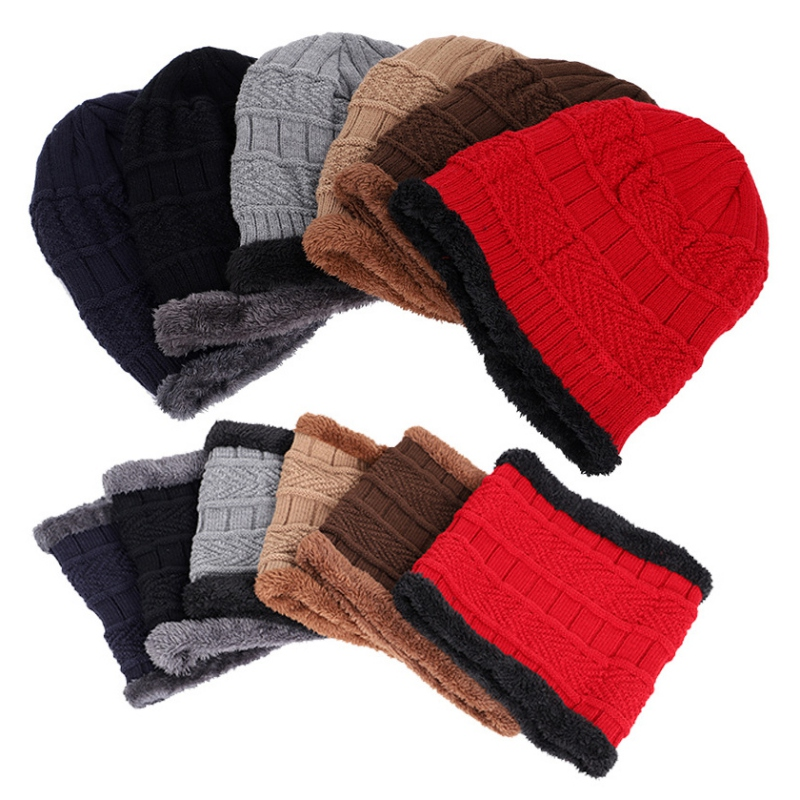 Men's Winter Hat 2019 Fashion Knitted Black Hats Fall Hat Thick And Warm And Bonnet Beanie Soft Knitted Beanies Cotton