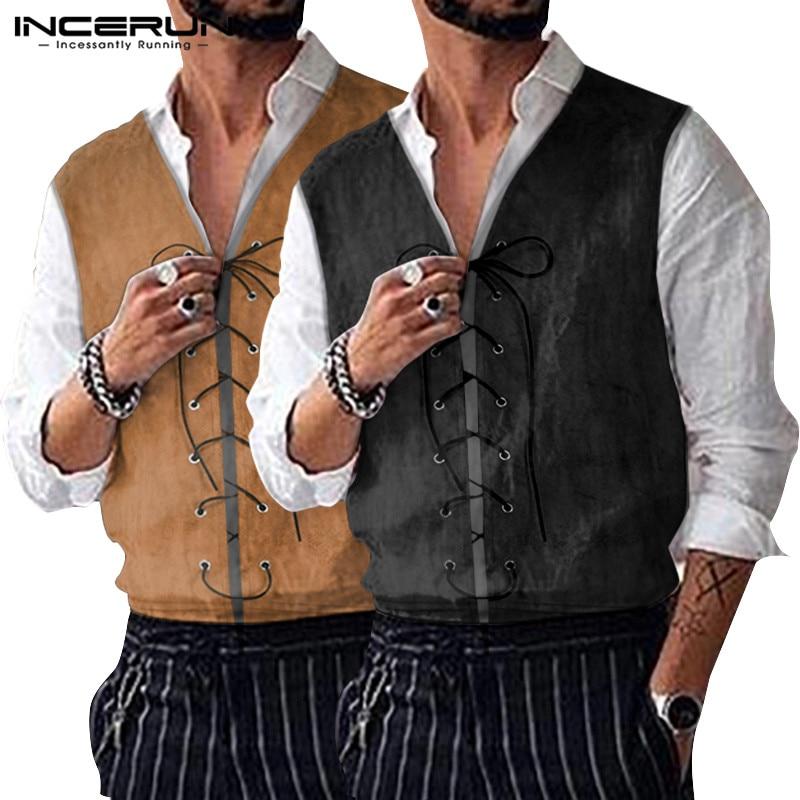 INCERUN Men Cosplay Costume Jackets Vintage Mens  Shirt Vests Coats Lace Up Renaissance Halloween Sleeveless Tops 5XL